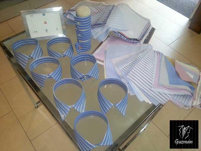 Muestrario de cuellos, telas y puños